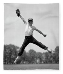 1960s Boy Jumping In Outfield To Catch Fleece Blanket