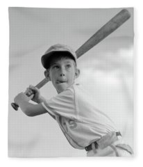 1960s Boy Playing Baseball Holding Bat Fleece Blanket