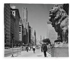 1960s People Pedestrians Street Scene Fleece Blanket