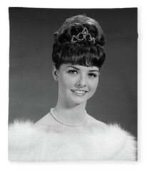 1960s Pretty Young Woman Wearing Tiara Fleece Blanket