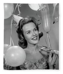1960s Smiling Young Woman Fleece Blanket