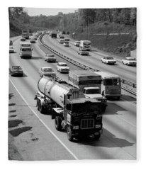 1960s Tanker Truck Traveling On Busy Fleece Blanket