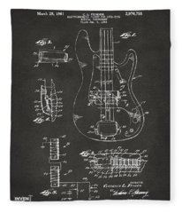 1961 Fender Guitar Patent Artwork - Gray Fleece Blanket