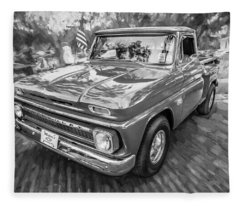 1966 Chevy C10 Pick Up Truck Painted Bw Fleece Blanket