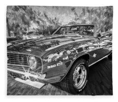 1969 Chevy Camaro Ss Painted Bw  Fleece Blanket