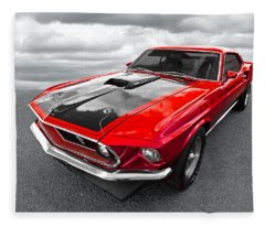 1969 Red 428 Mach 1 Cobra Jet Mustang Fleece Blanket
