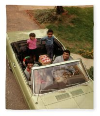 1970s African American Family Of Four Fleece Blanket