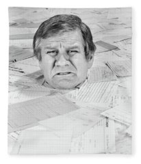1970s Distressed Man Up To His Neck Fleece Blanket