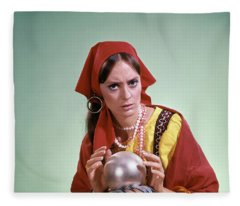 1970s Psychic Crystal Ball Fortune Fleece Blanket