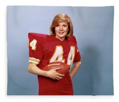 1970s Smiling Blond Woman Fan Wearing Fleece Blanket
