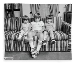 1970s Three Siblings Sitting On Couch Fleece Blanket
