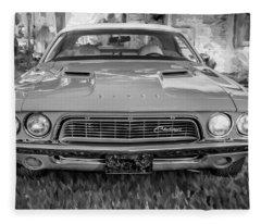 1972 Dodge 340 Challenger Painted Bw  Fleece Blanket