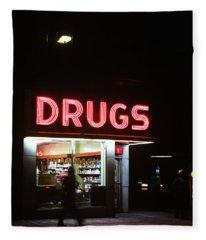 1980s Drug Store At Night Pink Neon Fleece Blanket