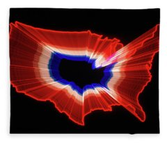 1980s Luminous Zoomed Red White Fleece Blanket