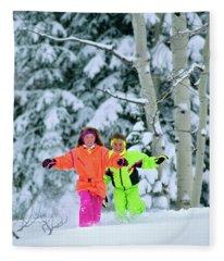 1990s Girl And Boy Running In The Snow Fleece Blanket