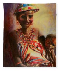 African Mother And Child Fleece Blanket