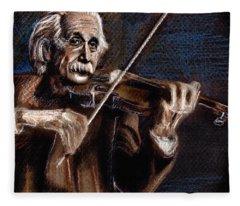 Albert Einstein And Violin Fleece Blanket