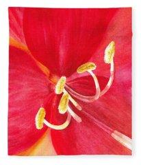 Amaryllis Flower Fleece Blanket