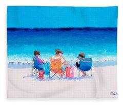 Beach Painting 'girl Friends' By Jan Matson Fleece Blanket