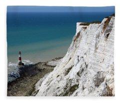 Beachy Head Cliffs And Lighthouse  Fleece Blanket