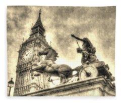 Big Ben And Boadicea Statue  Fleece Blanket