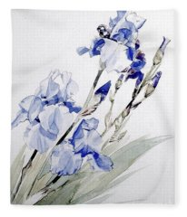Blue Irises Fleece Blanket