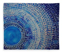 Blue Kachina Original Painting Fleece Blanket
