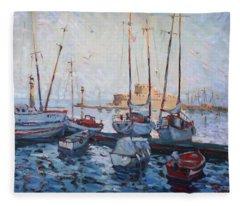 Boats In Rhodes Greece  Fleece Blanket
