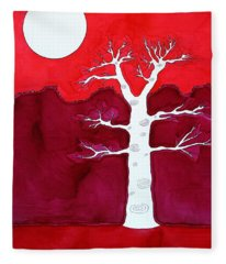 Canyon Tree Original Painting Fleece Blanket