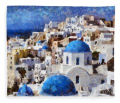 Colorful Oia In Santorini Island Fleece Blanket