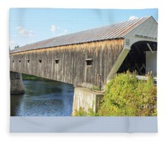 Fleece Blanket featuring the photograph Cornish-windsor Covered Bridge IIi by Edward Fielding