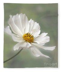 Cosmos Flower In White Fleece Blanket