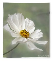 Cosmos Flower In White Fleece Blanket