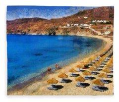 Elia Beach In Mykonos Island Fleece Blanket