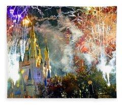 Fireworks Cinderellas Castle Walt Disney World Fleece Blanket