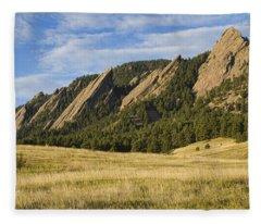 Flatirons With Golden Grass Boulder Colorado Fleece Blanket