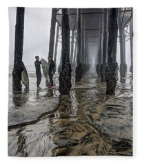 Fog At The Pier Fleece Blanket