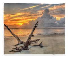 Folly Beach Driftwood Fleece Blanket