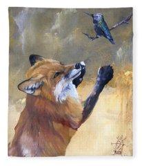Fox Dances For Hummingbird Fleece Blanket