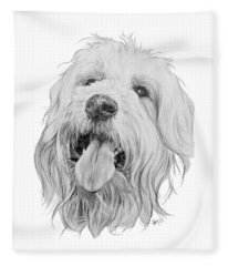 Fleece Blanket featuring the drawing Goldendoodle by Barbara Keith