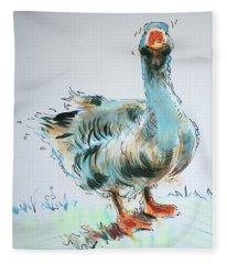 Goose Drawing Fleece Blanket