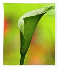 Green Calla Lily Fleece Blanket