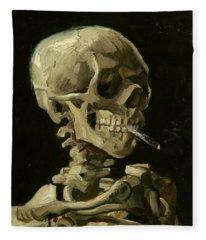 Head Of A Skeleton With A Burning Cigarette Fleece Blanket