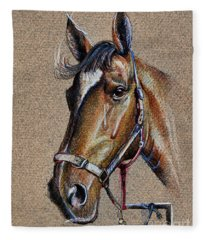 Horse Face - Drawing  Fleece Blanket