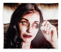 Infected Woman Searching Field During Zombie Apocalypse Fleece Blanket