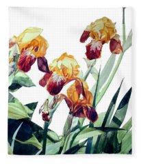 Watercolor Of Tall Bearded Irises I Call Iris La Vergine Degli Angeli Verdi Fleece Blanket