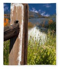 Landscape With Fence Pole Fleece Blanket