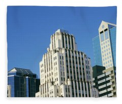 Low Angle View Of Downtown Skyline Fleece Blanket