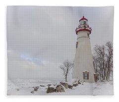 Marblehead Lighthouse Lake Erie Fleece Blanket