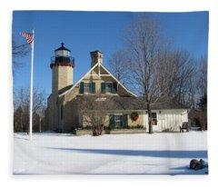 Mcgulpin Point Lighthouse In Winter Fleece Blanket